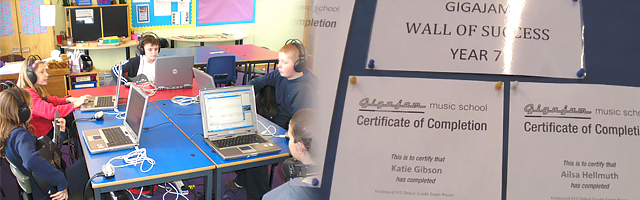 Case studies header showing children in music suite classroom